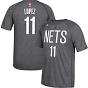 adidas Men's Brooklyn Nets Brook Lopez #11 climalite Grey T-Shirt
