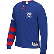 adidas Men's Philadelphia 76ers On-Court Royal Long Sleeve Shooting Shirt