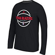 adidas Men's Portland Trail Blazers climalite Black Long Sleeve Shirt