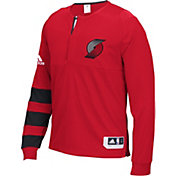 adidas Men's Portland Trail Blazers On-Court Red Long Sleeve Shooting Shirt