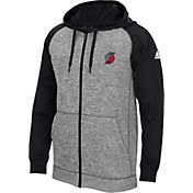 adidas Men's Portland Trail Blazers climawarm Team Issue Grey/Black Full-Zip Hoodie