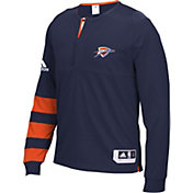 adidas Men's Oklahoma City Thunder On-Court Navy Long Sleeve Shooting Shirt