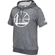 adidas Men's Golden State Warriors Pre-Game Grey Short Sleeve Hoodie