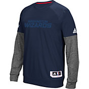 adidas Men's Washington Wizards On-Court Navy/Grey Long Sleeve Shooting Shirt