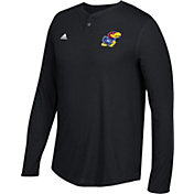 adidas Men's Kansas Jayhawks Jayhawks Henley Long Sleeve Shirt
