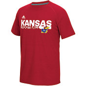 adidas Men's Kansas Jayhawks Crimson Sideline Grind Football Short Sleeve T-Shirt
