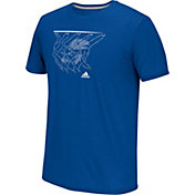 adidas Men's Kansas Jayhawks Blue Net Logo Basketball T-Shirt