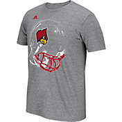 adidas Men's Louisville Cardinals Grey Football Helmet T-Shirt