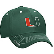 adidas Men's Miami Hurricanes Green Sideline Coaches Structured Flex-Fitted Hat