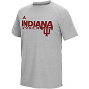 adidas Men's Indiana Hoosiers Grey Sideline Grind Football Short Sleeve T-Shirt