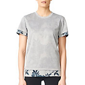 adidas Women's Two-Layer Tonal Floral Print T-Shirt
