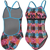 adidas Women's Printed Split Back Swimsuit
