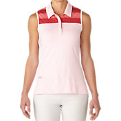adidas Women's Melange Stripe Sleeveless Golf Polo