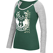 adidas Women's Milwaukee Bucks Scoop Neck Green/Grey Long Sleeve Shirt