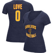 adidas Women's Cleveland Cavs Kevin Love #0 Navy Tri-Blend V-Neck T-Shirt