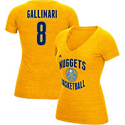 adidas Women's Denver Nuggets Danilo Gallinari #8 Gold Tri-Blend V-Neck T-Shirt