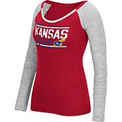 adidas Women's Kansas Jayhawks Crimson Double Bar Long Sleeve Shirt
