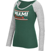 adidas Women's Miami Hurricanes Grey Double Bar Long Sleeve Shirt