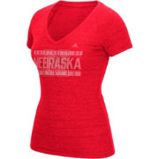 adidas Women's Nebraska Cornhuskers Red Distress V-Neck T-Shirt