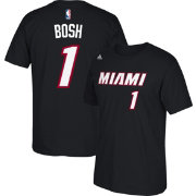 adidas Youth Miami Heat Chris Bosh #1 Black T-Shirt