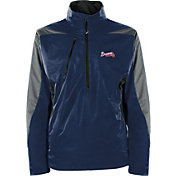 Antigua Men's Atlanta Braves Pullover Navy Discover Jacket