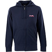 Antigua Men's Atlanta Braves Navy Full-Zip Fleece Hoodie