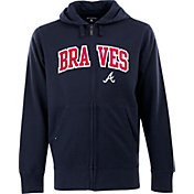 Antigua Men's Atlanta Braves Navy Split Applique Full-Zip Hoodie