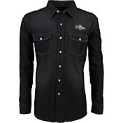 Antigua Men's Milwaukee Brewers Chambray Button-Up Black Long Sleeve Shirt