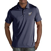 Antigua Men's Milwaukee Brewers Navy Quest Performance Polo