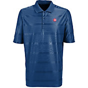 Antigua Men's Chicago Cubs Illusion Royal Striped Performance Polo