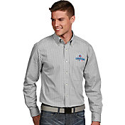 Antigua Men's 2016 World Series Champions Chicago Cubs White Plaid Associate Button-Up Long Sleeve Shirt