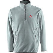 Antigua Men's St. Louis Cardinals Quarter-Zip Silver Ice Pullover