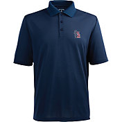 Antigua Men's St. Louis Cardinals Xtra-Lite Patriotic Logo Navy Pique Performance Polo
