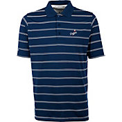 Antigua Men's Los Angeles Dodgers Deluxe Royal Striped Performance Polo