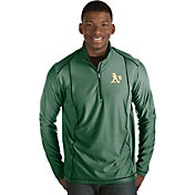 Antigua Men's Oakland Athletics Green Tempo Quarter-Zip Pullover
