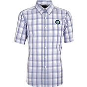 Antigua Men's Seattle Mariners Alumni Navy Plaid Button-Up Shirt