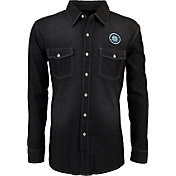 Antigua Men's Seattle Mariners Chambray Button-Up Black Long Sleeve Shirt
