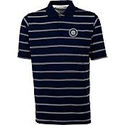 Antigua Men's Seattle Mariners Deluxe Navy Striped Performance Polo