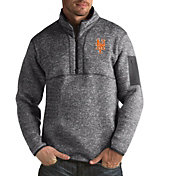 Antigua Men's New York Mets Grey Fortune Half-Zip Pullover