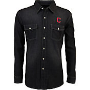 Antigua Men's Cleveland Indians Chambray Button-Up Black Long Sleeve Shirt