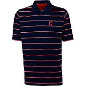 Antigua Men's Cleveland Indians Deluxe Navy Striped Performance Polo