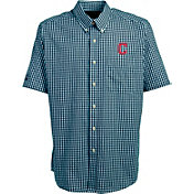 Antigua Men's Cleveland Indians Scholar Plaid Button-Up Shirt