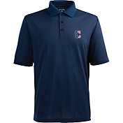 Antigua Men's Cleveland Indians Xtra-Lite Patriotic Logo Navy Pique Performance Polo