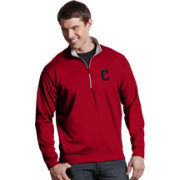 Antigua Men's Cleveland Indians Leader Quarter-Zip Red Pullover