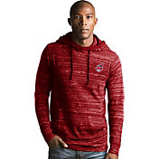 Antigua Men's Cleveland Indians Red Team Fleece Hooded Pullover