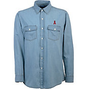 Antigua Men's Los Angeles Angels Chambray Button-Up Long Sleeve Shirt