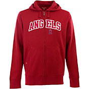 Antigua Men's Los Angeles Angels Red Split Applique Full-Zip Hoodie