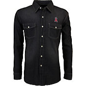 Antigua Men's Los Angeles Angels Chambray Button-Up Black Long Sleeve Shirt