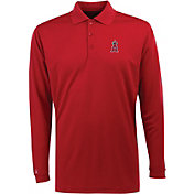 Antigua Men's Los Angeles Angels Exceed Red  Long Sleeve Performance Polo
