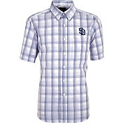 Antigua Men's San Diego Padres Alumni Navy Plaid Button-Up Shirt